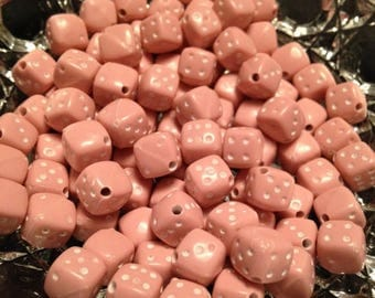 Moving Clearance Sale Pink Dice Resin Beads