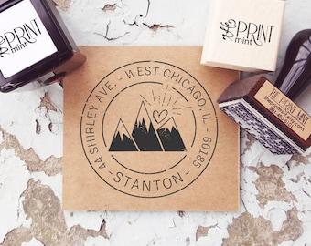 Mountain Address Stamp, Custom Wanderlust Stamp, Outdoors Address Stamp, Return Address, Self-Inking Mountain, Address Embosser, CS-10316