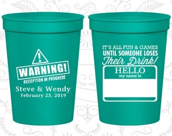 Teal Stadium Cups, Teal Cups, Teal Party Cups, Teal Wedding Cups (580)