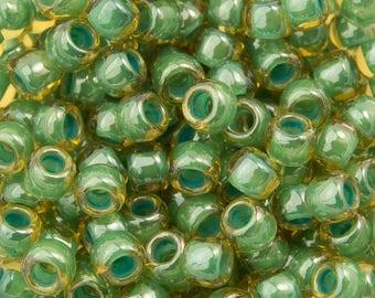10% OFF TOHO Seed Bead 8/0 ~ Inside-Color Topaz/Mint Julep Lined ~ 8 Grams (TR-08-380) H-14
