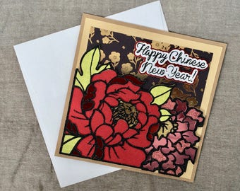 Chinese New Year Card w/Peony and Mum flower