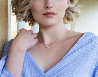 Moonstone necklace bridesmaid, dainty bridesmaid necklace, bridesmaid jewelry gift, June birthstone necklace - Natalie