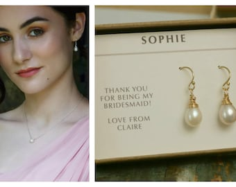 Bridal pearl drop earrings, bridesmaid pearl drop earrings, bridal pearl earrings, freshwater pearl drop earrings - Sophie