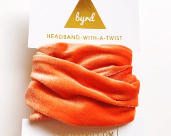 Orange Crushed Velvet Wire Headband- Headband Turban Boho, Twist Scarf, Headwrap, Velvet Turban, Orange Headband, Peach Velvet Headband