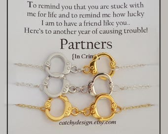Set of-3-Partners in crime necklaces,set Three Gold Silver Handcuff necklaces,Best friend gift,Friendship Quote,Long Distance,Christmas gift
