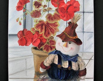 Cute and Quirky ORIGINAL Oil Painting FREE SHIPPING! **Geranium and Friend** Still Life oil on canvas board from my series of...*On A Ledge*