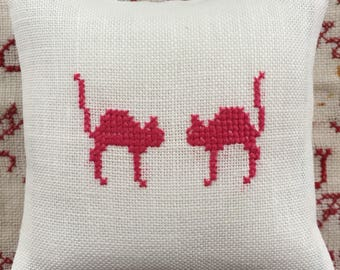 Handmade Pincushion Two Cats Cross Stitch Lavender Sachet  Vintage Liberty of London Fabric