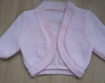Hand Knitted Pink Bolero