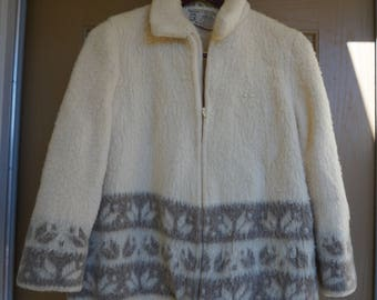 100%  Pure Wool Laine Icelandic Cardigan Sweater by Hilda Ltd Made in Iceland Size Large Ladies Womens 80s Vintage Sweaters fully lined