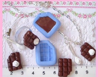 small chocolate bar silicone mold chewed (for polymer clay)