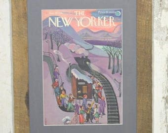 New Yorker cover January 24, 1942 with reclaimed oak boards