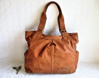 vintage LANCASTER tan leather large tote bag