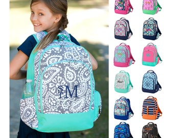 Monogrammed Backpack Personalized Girls Boys Bookbag Kids School Tote Bag Embroidered Name Pink Mint Aqua Navy Blue Floral Paisley Camo Boho