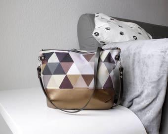 Triangles copper cross body bag with leather handle, ladies handbag, handbag, shoulder bag, Tote, ladies bag