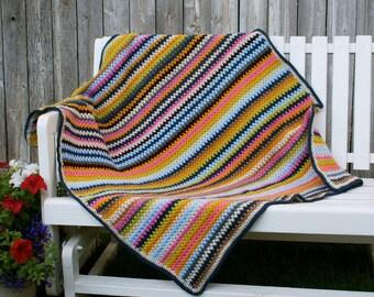 Crochet, V-stitch, Denim & Blooms baby/toddler/adult lap crochet blanket