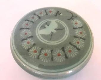Vintage beautiful  Celadon Ceramic Trinket Box featuring pretty dove