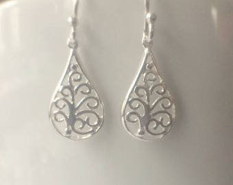 Sterling Silver Filigree Teardrop Earrings, Sterling Silver Earrings, Filigree Earrings, Teardrop Earrings, Jewellery Gift, Silver Earrings