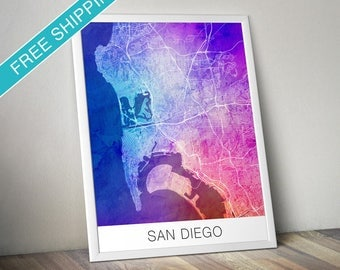 San Diego Map Print - Map Art Poster with Watercolor Background