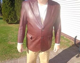Mans 1970s vintage  2 button vintage leather blazer jacket,sportcoat size XL or 48,rare size