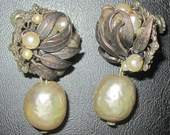Vintage Signed Miriam Haskell Gold Gilt Faux Pearl Earrings - Free Shipping