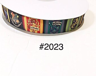 """3 or 5 yard - 7/8"""" Magical Wizard Wizarding School Grosgrain Ribbon For Hair bow Craft Supply"""