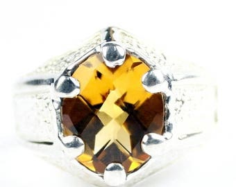 On Sale, 30% Off, Citrine, 925 Sterling Silver Gothic Ring, SR234