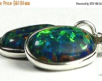 On Sale, 30% Off, Created Blue/Green Opal, 925 Sterling Silver Threader Earrings, SE005