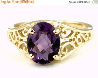 On Sale, 30% Off, Amethyst, 18KY Gold Ring, R005