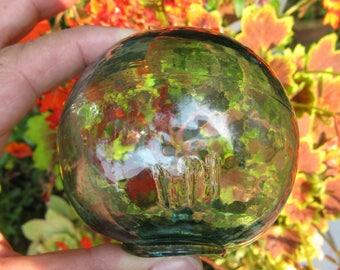 "3.5"" Japanese Glass Float, Blue Green, Glass, Antique,Nautical, Beach Decor, Home and Garden, Beach Cottage Decor, Sea, Ocean, Glass Float"