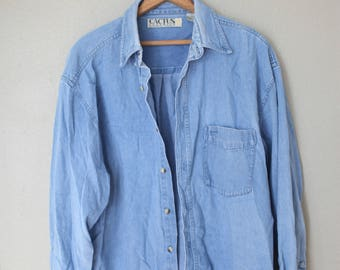 vintage 1990's  oversized blue chambray industrial  shirt