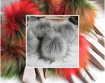 3 Silver Faux Fur Pom Pom, large fur pom pom, fox fake fur pompom,  handmade pom pom, Large Detachable pom pom