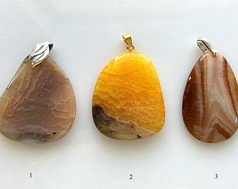 Dragon Vein and Crazy Lace Agate Pendants - Beige Tan Browns and Orange/Yellow