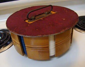 Vintage poker chip set, poker chip carrier, Poker set, Antique poker chip carrier set with chips