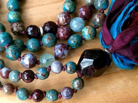 Vitality Mala Beads, Rainbow Calsilica, Red Lightning Agate, Garnet, Aquamarine, African Opal, Chakra Mala Beads, Healing Meditation Beads