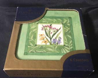 "Vintage Pimpernel Coasters Set of 6 Coaster, ""Wildflower Garden"" Wildflower with Green Frame, Made in England"