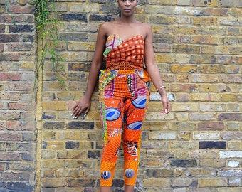 Orange skinny Jumpsuit mix print Ankara romper in mixed Ankara patchwork African print fabric