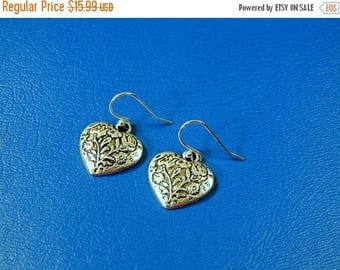SALE Heart Earrings Tibetan Silver Antiqued Heart Earrings Vintage Look