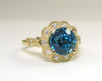 Blue Zircon 5.20 Carat Diamond Ring In 14K Yellow Gold, Anniversary/Engagement Ring, Birthday Gift, December Birthstone Ring  (144681)