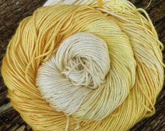 MULBERRY SILK DK super-soft Pure Silk, 100 gms 200 mts Mollycoddle Yarns, hand dyed, golden yellows, natural white