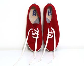 Vintage 80s keds shoes red canvas womens 7