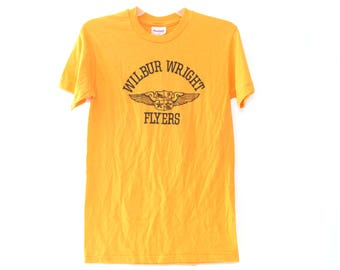 Vintage 80s tshirt Wilbur Wright Flyers gold yellow