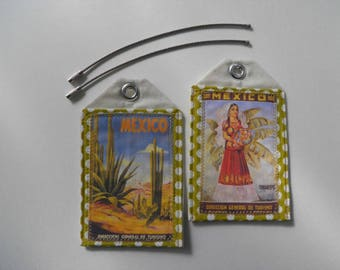 Custom luggage tags, South and Central America, Mexico, Carribean, set of 2, vintage art, travel posters, ID tags, travel accessory