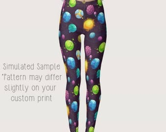 Planet Leggings, Yoga Pants, UFO, Galaxy, Solar System, Space, Cosmic, Constellation, Sun, Moon, Cosmos, Satellite, Astronaut - Planets 1