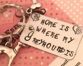 Greyhound keyring, Greyhound gift, Christmas gift, Hand Stamped, Key Ring, Dog Lover, for her, for him,greyhound keyring