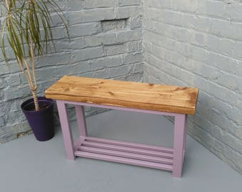 Hallway bench with shoe rack shelf to base finished in Lavender