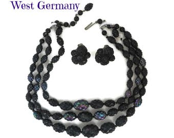 West Germany Demi Parure - Vintage Black Iridescent Beaded Triple Strand Necklace, Clip-on Earrings, Christmas Gift, FREE SHIPPING