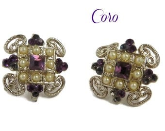 Coro Pearl Rhinestone Earrings | Vintage Faux Pearl Screwback Earrings