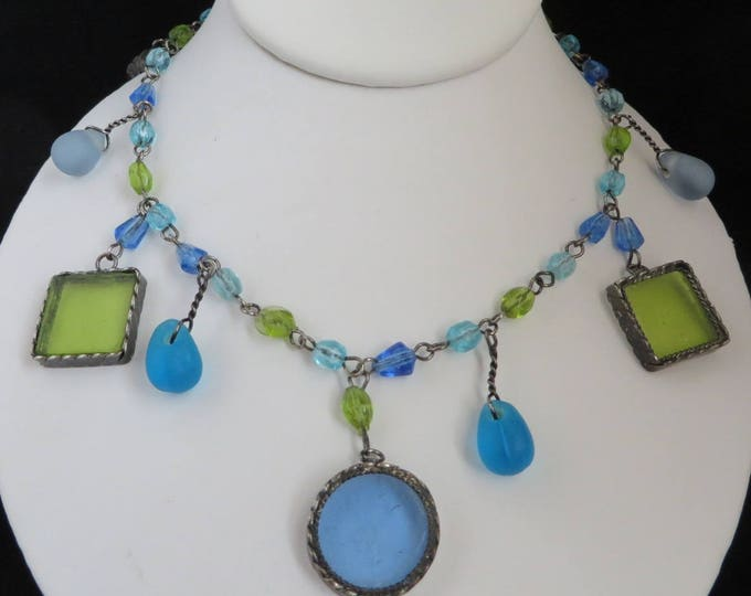 CHICO's Boho Glass Necklace, Green, Blue Glass Bead Necklace