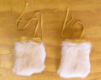 2 Dark Cream Rabbit Fur & Gold Color Deer Leather Bags
