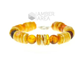 Massive Baltic amber bracelet for men - genuine amber bracelet with sterling clasp - Baltic amber jewelry for men - 4121